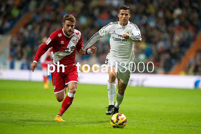 Football match between Real Madrid and Rayo Vallecano at 8th Novembre, 2014 in Stadium Santiago Bernabéu.<br /> Cristiano Ronaldo.