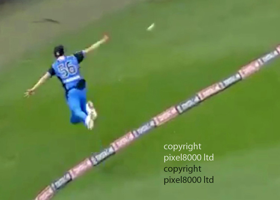 Pic shows: Greatest cricket catch of all time?<br /> <br /> Strikers Ben Laughlin and Jake Weatherald pulled off one of the all-time great boundary catches to send Dwayne Bravo on his way at Etihad Stadium<br /> <br /> <br /> The Adelaide Strikers recorded a 26-run Big Bash victory over the Melbourne Renegades on Monday, but the highlight of their win was an amazing catch from fielder Ben Laughlin.<br /> <br /> The scorecard will actually read that West Indian batsman Dwayne Bravo was dismissed for four runs by Jake Weatherald off the bowling of Rashid Khan - however that doesn't tell the whole tale of the wicket that fell.<br /> <br /> As you can see below, Bravo hit a lofted off-drive was heading over the boundary rope for six at the Etihad Stadium, until it was superbly caught by a sprinting Laughlin.<br /> <br /> But it doesn't end there! The Strikers' seam bowler had the instinct to parry the ball back 30m into play, having fallen over the boundary rope, where on-waiting team-mate Weatherald mopped up to catch the ball confidently, after it had somehow remained in the air.