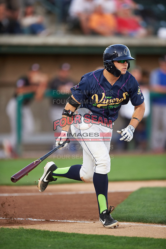 Vineros de Tri-City Logan Driscoll (19) runs toward first base during a Northwest League game against the Vancouver Canadians at Gesa Stadium on August 22, 2019 in Pasco, Washington. Tri-City defeated Vancouver 2-0. (Zachary Lucy/Four Seam Images)