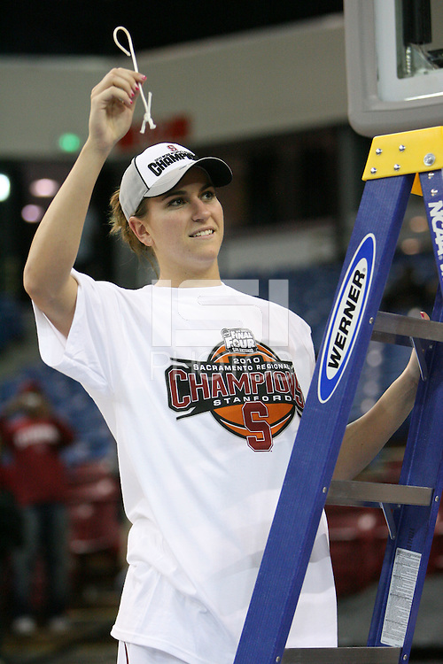 SACRAMENTO, CA - MARCH 29: Jeanette Pohlen cuts the net after Stanford's 55-53 win over Xavier in the NCAA Women's Basketball Championship Elite Eight on March 29, 2010 at Arco Arena in Sacramento, California.