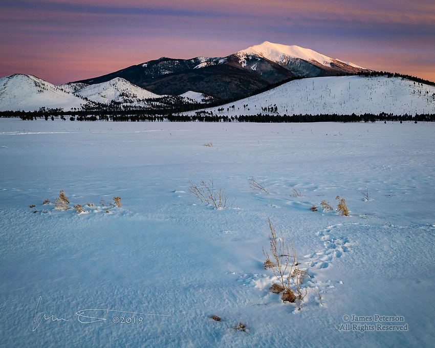 "Snowy Day at Kendrick Park ©2019 James D Peterson.  A couple days after a record snowfall in Flagstaff, I went out with a couple friends for some ""Winter Wonderland, Arizona Style"" photos.  Mother Nature didn't disappoint!  This scene was captured in the last sunlight of the day with Mount Humphreys, Arizona's hightest peak, in the background.  The tracks in the foreground are probably from a very intrepid bunny who came out looking for sustenance."