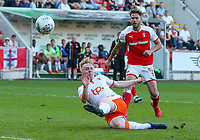 Blackpool's Mark Cullen can't keep his shot down<br /> <br /> Photographer Alex Dodd/CameraSport<br /> <br /> The EFL Sky Bet League One - Rotherham United v Blackpool - Saturday 5th May 2018 - New York Stadium - Rotherham<br /> <br /> World Copyright &copy; 2018 CameraSport. All rights reserved. 43 Linden Ave. Countesthorpe. Leicester. England. LE8 5PG - Tel: +44 (0) 116 277 4147 - admin@camerasport.com - www.camerasport.com