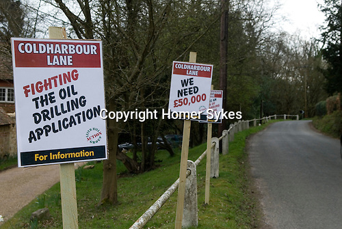 Coldharbour Surrey UK. Surrey Hills local protest at proposed oil drilling.