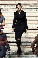 Monica Bellucci <br /> Roma 19-02-2015 Eur. Primo giorno di riprese sul set del nuovo film 007 dal titolo Spectre<br /> First day on the set of the new film of James Bond, 007, titled Spectre, shot in Rome<br /> Photo Samantha Zucchi Insidefoto