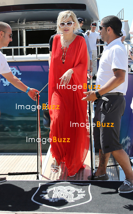 Rita Ora leaving Roberto Cavalli's yacht in Cannes during the 67th Cannes Film Festival.<br /> France, Cannes, May 17, 2014.
