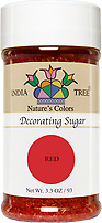India Tree Nature's Colors natural Red Decorating Sugar, India Tree Decorating Sugar, natural sprinkles made with natural food color from plant-based ingredients