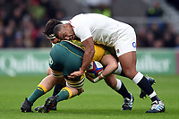Jamie George and Kyle Sinckler of England put in a double-tackle. Quilter International match between England and Australia on November 24, 2018 at Twickenham Stadium in London, England. Photo by: Patrick Khachfe / Onside Images