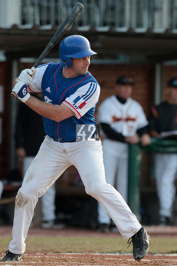 27 july 2010: Gaspard Fessy of France is seen at bat during Germany 10-9 victory over France, in day 5 of the 2010 European Championship Seniors, in Stuttgart, Germany.