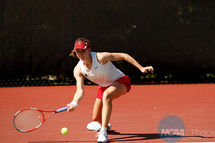 25 MAY 2010:  Carolyn McVeigh of Stanford University hits a return against the University of Florida during the Division I Women's Tennis Championship held at the Dan Magill Tennis Complex on the University of Georgia campus in Athens, GA.  Stanford defeated Florida 4-3 for the national title.  Jamie Schwaberow /NCAA Photos