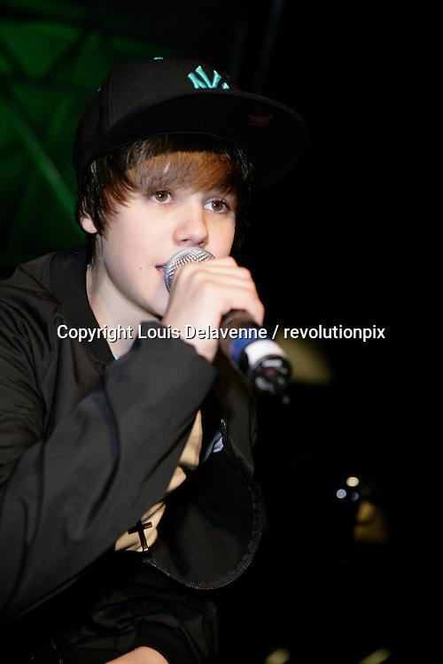 Justin Bieber<br /> Los Angeles<br /> December 14 2009<br /> Justin Bieber on stage at The Citadel Outlets in Los Angeles<br /> ID revpix 91214901