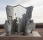 Sculpture marking the start and end point of the south west long distance coastal footpath, Minehead, Somerset, England