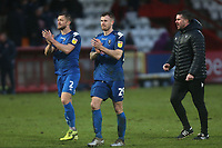 Scott Wiseman and Michael O'Connor of Salford City applaud the travelling fans after Stevenage vs Salford City, Sky Bet EFL League 2 Football at the Lamex Stadium on 15th February 2020