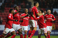 Ahmed Kashi celebrates scoring Charlton Athletic's opening goal during Charlton Athletic vs Oxford United, Sky Bet EFL League 1 Football at The Valley on 3rd February 2018