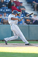 Marcos Derkes #19 of the Tri-City Dust Devils at bat during a game against the Everett AquaSox at Everett Memorial Stadium in Everett, Washington on July 28, 2014. Tri-City defeated Everett 6-5 in 11 innings.  (Ronnie Allen/Four Seam Images)