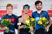 Picture by Alex Whitehead/SWpix.com - 13/05/2018 - British Cycling - HSBC UK Spring Cup Series - Lincoln Grand Prix - Alex Richardson wins the Lincoln GP, Second - Andy Tennant of Canyon Eisberg, Bronze - Ali Slater of JLT Condor.