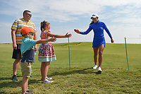 Maria Fassi (MEX) high fives young fans as she heads to the tee on 12 during the round 2 of the Volunteers of America Texas Classic, the Old American Golf Club, The Colony, Texas, USA. 10/4/2019.<br /> Picture: Golffile | Ken Murray<br /> <br /> <br /> All photo usage must carry mandatory copyright credit (© Golffile | Ken Murray)