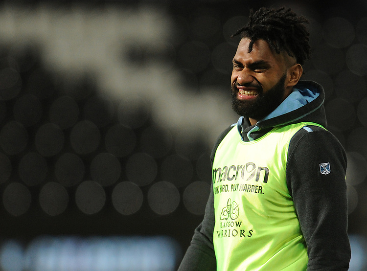 Glasgow Warriors' Nikola Matawalu during the pre match warm up<br /> <br /> Photographer Kevin Barnes/CameraSport<br /> <br /> Guinness Pro14 Round 8 - Ospreys v Glasgow Warriors - Friday 2nd November 2018 - Liberty Stadium - Swansea<br /> <br /> World Copyright © 2018 CameraSport. All rights reserved. 43 Linden Ave. Countesthorpe. Leicester. England. LE8 5PG - Tel: +44 (0) 116 277 4147 - admin@camerasport.com - www.camerasport.com
