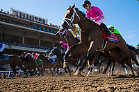 DEL MAR, CA - NOVEMBER 04: Heavenly Love #1, ridden by Julien Leparoux, breaks sprints along with the rest of the field during the the 14 Hands Winery Breeders' Cup Juvenile Fillies on Day 2 of the 2017 Breeders' Cup World Championships at Del Mar Thoroughbred Club on November 4, 2017 in Del Mar, California. (Photo by Alex Evers/Eclipse Sportswire/Breeders Cup)
