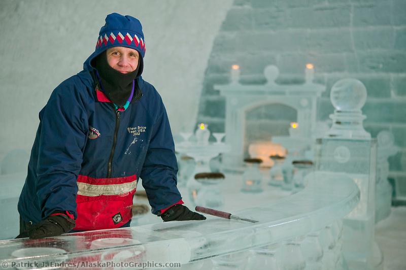 Aurora Ice Hotel, Chena Hot Springs, Alaska. World Ice Sculpting champion Steve Brice.