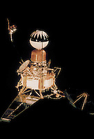 Ranger 3 spacecraft. The Ranger spacecraft were designed to collide with the lunar surface, returning imagery until they were destroyed upon impact. 1960s