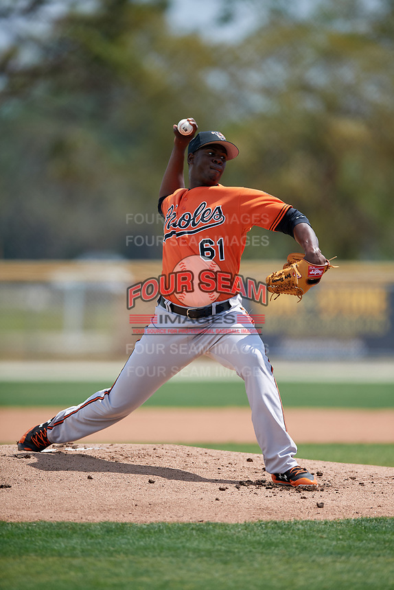 Baltimore Orioles pitcher Yefry Ramírez (61) during a Minor League Spring Training game against the Boston Red Sox on March 20, 2018 at Buck O'Neil Complex in Sarasota, Florida.  (Mike Janes/Four Seam Images)