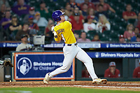 Cade Doughty (4) of the LSU Tigers follows through on his swing against the Oklahoma Sooners in game seven of the 2020 Shriners Hospitals for Children College Classic at Minute Maid Park on March 1, 2020 in Houston, Texas. The Sooners defeated the Tigers 1-0. (Brian Westerholt/Four Seam Images)