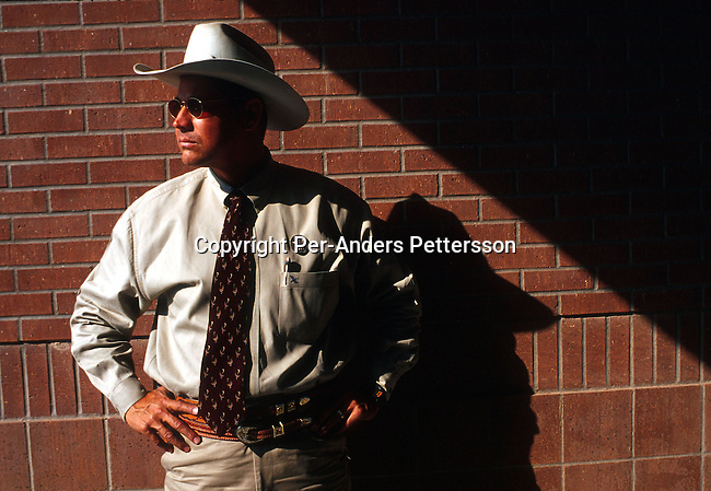 An unidentified member of a Texas Rangers unit on October 22, 1999 in Midland, Texas, USA. Texas Rangers is an elit force founded in the late 19th century that mainly combated stock theft and bank robberies. There's only about one hundred officers in service in Texas. The unit has been the motive for several movies and comic books including the still popular television series Texas Rangers starring Chuck Norris..Photo: Per-Anders Pettersson