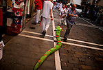 A man walks with a stuffed snake after the sixth San Fermin Festival bull run, on July 12, 2012, in Pamplona, northern Spain. The festival is a symbol of Spanish culture that attracts thousands of tourists to watch the bull runs despite heavy condemnation from animal rights groups. (c) Pedro ARMESTRE