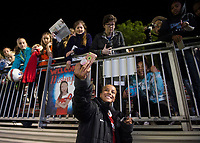 Boyds, MD - Saturday May 20, 2017: Mallory Pugh and fans during a regular season National Women's Soccer League (NWSL) match between the Washington Spirit and FC Kansas City at Maureen Hendricks Field, Maryland SoccerPlex.