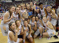 Archbishop Wood celebrates after defeating Villa Maria's to win the girls basketball PIAA Class AAA state championship Saturday March 19, 2016 at the Giant Center in Hershey, Pennsylvania (Photo By William Thomas Cain)