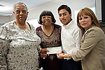 """State Representative Alma Allen (c) and two representatives from ABC Dental present $1000 check to Ms. Vivian Harris. on June 27. Distributed as; $400-Madison High School, $400-Dowling Middle School and $200-<br /> South Houston Concerned Citizens Coalition.<br /> The donation was for the<br /> """"Annual<br /> Spring Festival""""<br /> held on March 16th 2013<br /> in Townwood Park sponsored by the District K Office and the SHCCC."""