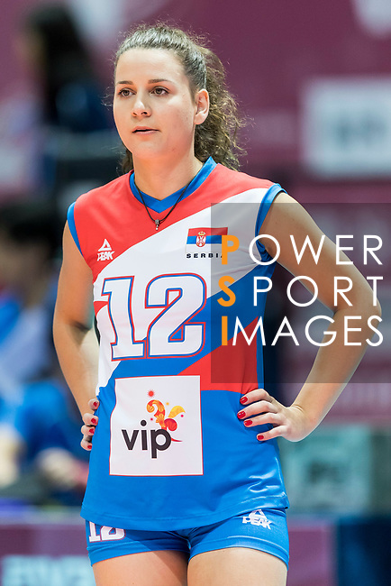 Libero Teodora Pusic of Serbia reacts during warm up section prior the FIVB Volleyball World Grand Prix - Hong Kong 2017 match between Japan and Serbia on 22 July 2017, in Hong Kong, China. Photo by Yu Chun Christopher Wong / Power Sport Images