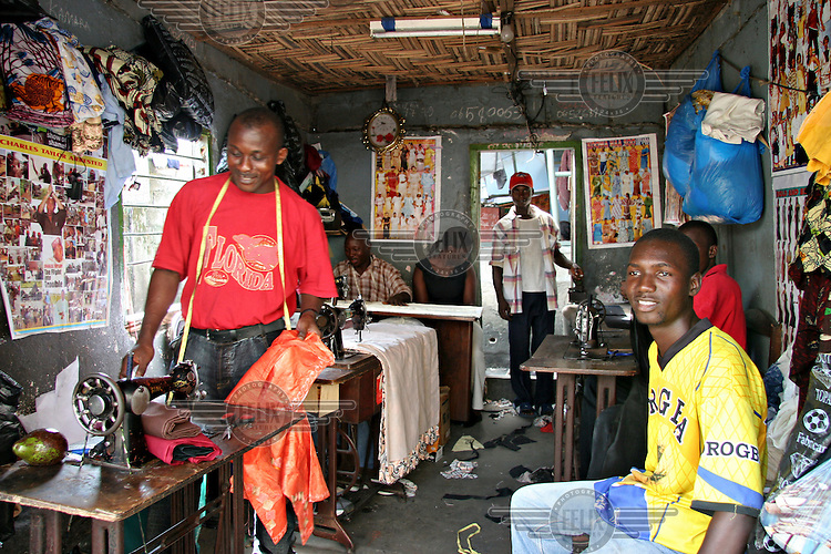 Tailor shops are becoming very successful businesses in Monrovia. There are no ready to wear clothes available except in the used clothes markets.