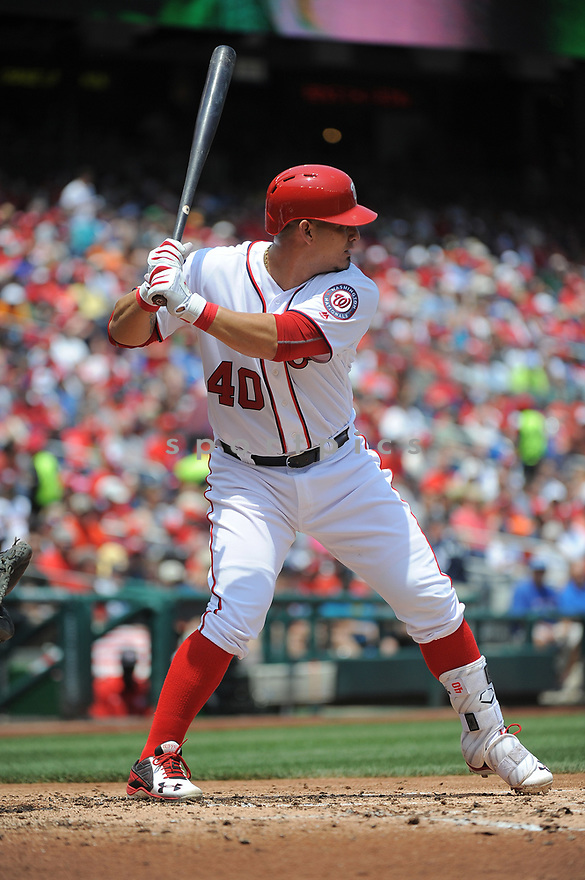 Washington Nationals Wilson Ramos (40) during a game against the Philadelphia Phillies on June 11, 2016 at Nationals Park in Washington, DC. The Nationals beat the Phillies 8-0.