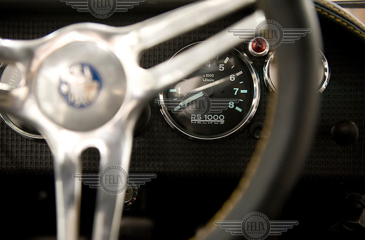 Interior of a Melkus RS1000 sportscar at the family owned Melkus car factory in Dresden.