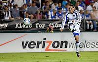 Herculez Gomez kicks the ball. The San Jose Earthquakes defeated the Kansas City Wizards in stoppage time 1-0 at Buck Shaw Stadium in Santa Clara, California on August 22, 2009.