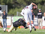 Palos Verdes, CA 11/03/17 - Jacob Hangartner (Peninsula #11) and Jake Nolls (Palos Verdes #16) in action during the Palos Verdes vs Palos Verdes Peninsula CIF Varsity football game at Peninsula High School for the battle of the hill.