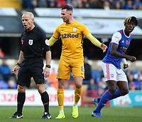 Preston North End's Alan Browne argues with Referee Andy Woolmer<br /> <br /> Photographer David Shipman/CameraSport<br /> <br /> The EFL Sky Bet Championship - Ipswich Town v Preston North End - Saturday 3rd November 2018 - Portman Road - Ipswich<br /> <br /> World Copyright &copy; 2018 CameraSport. All rights reserved. 43 Linden Ave. Countesthorpe. Leicester. England. LE8 5PG - Tel: +44 (0) 116 277 4147 - admin@camerasport.com - www.camerasport.com