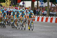 Professional Astana cyclist Daniel Navarro leads his team and the rest of the peleton onto the Champs Elysees, Paris on 25th July 2010