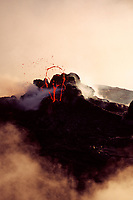 West pit gap area on west side of Pu'u o'o vent 11-01-03 Spatter cone, Hawaii Volcanoes National Park, Big Island, Hawaii, USA