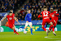 4th January 2020; King Power Stadium, Leicester, Midlands, England; English FA Cup Football, Leicester City versus Wigan Athletic; Ben Chilwell of Leicester City plays a ball through the Wigan Athletic defence - Strictly Editorial Use Only. No use with unauthorized audio, video, data, fixture lists, club/league logos or 'live' services. Online in-match use limited to 120 images, no video emulation. No use in betting, games or single club/league/player publications