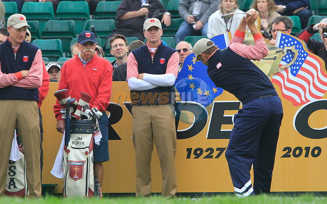 Dustin Johnson tees off on the 7th tee during Practice Day 3 of the The 2010 Ryder Cup at the Celtic Manor, Newport, Wales, 29th September 2010..(Picture Eoin Clarke/www.golffile.ie)