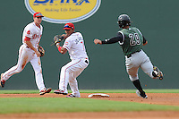 Shortstop Jose Garcia (7) of the Greenville Drive starts a double play with an out against Jose Flores (29) of the Augusta GreenJackets in a game on August 22, 2012, at Fluor Field at the West End in Greenville, South Carolina. Greenville won, 5-2. (Tom Priddy/Four Seam Images)