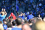 20.04.2019, Carl Benz Stadion, Mannheim, GER, RL Sued, SV Waldhof Mannheim vs. VfR Wormatia Worms, <br /> <br /> DFL REGULATIONS PROHIBIT ANY USE OF PHOTOGRAPHS AS IMAGE SEQUENCES AND/OR QUASI-VIDEO.<br /> <br /> im Bild: Die Mannheimer Spieler, mit dabei Marcel Seegert (SV Waldhof Mannheim #5) und Jannik Sommer (SV Waldhof Mannheim #20) feiern den Aufstieg inmitten der Fans<br /> <br /> Foto © nordphoto / Fabisch