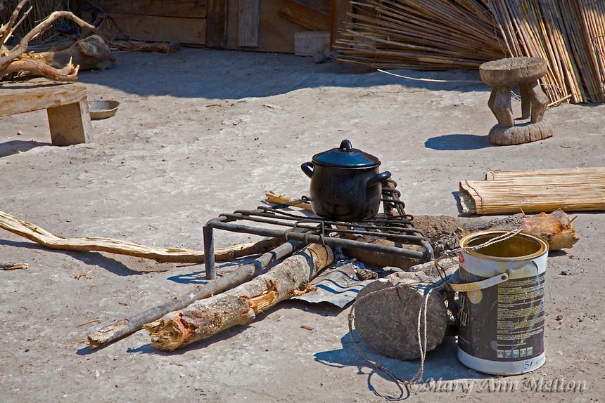 An outdoor kitchen, fishing village, Caprivi Strip, Namibia, Africa