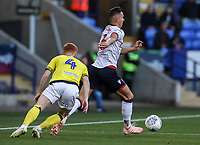 Bolton Wanderers' Pawel Olkowski breaks away from Blackburn Rovers' Harrison Reed<br /> <br /> Photographer Andrew Kearns/CameraSport<br /> <br /> The EFL Sky Bet Championship - Bolton Wanderers v Blackburn Rovers - Saturday 6th October 2018 - University of Bolton Stadium - Bolton<br /> <br /> World Copyright &copy; 2018 CameraSport. All rights reserved. 43 Linden Ave. Countesthorpe. Leicester. England. LE8 5PG - Tel: +44 (0) 116 277 4147 - admin@camerasport.com - www.camerasport.com