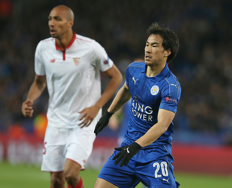Leicester City's Shinji Okazaki <br /> <br /> Photographer Stephen White/CameraSport<br /> <br /> UEFA Champions League Round of 16 Second Leg - Leicester City v Sevilla - Tuesday 14th March 2017 - King Power Stadium - Leicester <br />  <br /> World Copyright &copy; 2017 CameraSport. All rights reserved. 43 Linden Ave. Countesthorpe. Leicester. England. LE8 5PG - Tel: +44 (0) 116 277 4147 - admin@camerasport.com - www.camerasport.com