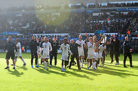 Swansea City celebrate at full time during the Sky Bet Championship match between Swansea City and Cardiff City at the Liberty Stadium in Swansea, Wales, UK. Sunday 27 October 2019