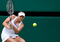 Vera Zvonareva (RUS) (21) against Tsvetana Pironkova (BUL) in the semi-finals of the ladies singles. Vera Zvonareva beat Tsvetana Pironkova 3-6 6-3 6-2  ..Tennis - Wimbledon Lawn Tennis Championships - Day 10 Thur 1st Jul 2010 -  All England Lawn Tennis and Croquet Club - Wimbledon - London - England..© FREY - AMN IMAGES  Level 1, Barry House, 20-22 Worple Road, London, SW19 4DH.TEL - +44 (0) 20 8947 0100.Email - mfrey@advantagemedianet.com.www.advantagemedianet.com