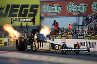 Sept. 16, 2012; Concord, NC, USA: NHRA top fuel dragster driver Tony Schumacher during the O'Reilly Auto Parts Nationals at zMax Dragway. Mandatory Credit: Mark J. Rebilas-